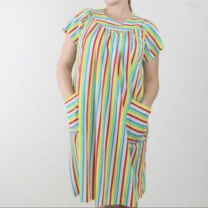 Vintage   70s Striped Terrycloth Muumuu Dress S/M